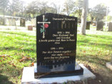 "WCE11 - 2'6"" All Polished Black Offset Peon style Headstone, with full colour Cross and Rose design."