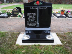 "WCE1 - 2'6"" All Polished Black Ogee style Headstone, with a raised book design and full colour rose."