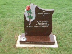 "WCE2 - 2'6"" All Polished Cats Eye Red bespoke style Headstone, with a full colour Rose carving."