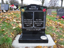 "WCE7 - 2'6"" All Polished Black Ogee style Headstone, with a Blasted Book design and two full colour."
