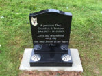 "WCE14 - 2'6"" All Polished Black Ogee style Headstone, with full colour Dog design."