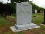 "WCY23 - 2'6"" Honed Silver Grey Ogee style Headstone, with Break design painted Black."
