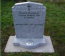 "WCY27 - 2'6"" Honed Light Grey Peon with Scotia Shoulders style Headstone, with panelled Rose design and a Cross Design painted Black."