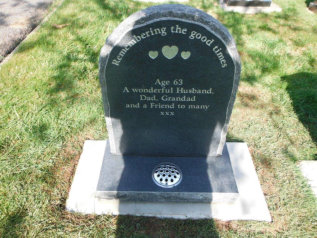 "WCY26 - 2'6"" Honed Dark Grey Half Round style Headstone with Rustic border and edges, and a three Heart design painted Gold."