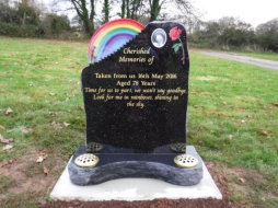 WB2 - All Polished Galaxy Black Headstone with a Stairway and Walking Lady in front of a Full Colour Rainbow, with a Full Colour Rose Design and a Ceramic Plaque.