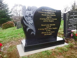 WB6 - All Polished Black Headstone with Deep Carved Flower and Angel.