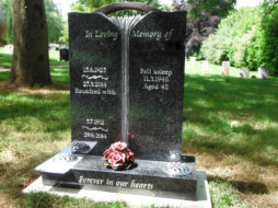 WB11 - All Polished Dark Grey Headstone with Deep Carved Water Fall.