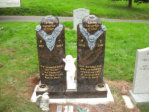 WB8 - All Polished Cats Eye Red Two Column Headstone with Deep Carved Rose designs.