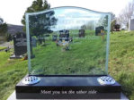 WB9 - All Polished Black Granit Base with a Solid Glass Headstone.