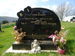 WB15 - All Polished Black Oval Shaped Headstone on a Base, with Two Heart shapes coming from the Top of the Stone.